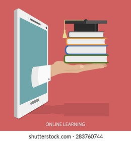 Online Learning Flat Isometric Concept. Hand With Books and Square Academic Cap Appeared From Smartphone or Tablet.