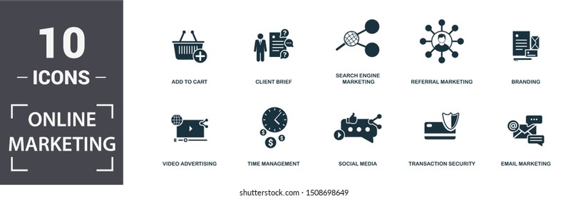 Online Marketing icon set. Contain filled flat email marketing, video advertising, referral, search engine marketing, social media, time management, add to cart, transaction icons. Editable format.
