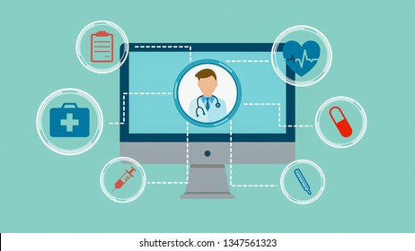 online medical consultation, concept of medicine and new technology