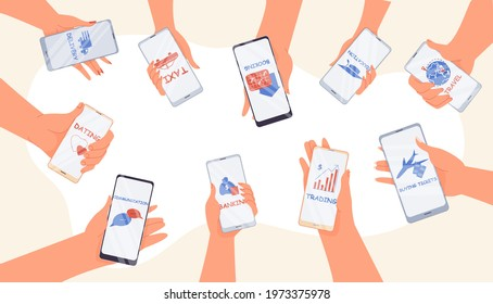 Online mobile service application. Trading, banking, buying ticket, booking travel tour, communication chat messenger, education e-learning platform, taxi, delivery, payment app. Human hand hold phone