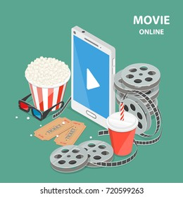 Online movie flat isometric low poly vector concept. Composition with a smartphone surrounded by reels, popcorn, glasses, soda, tickets. Streaming, live cinema and TV.