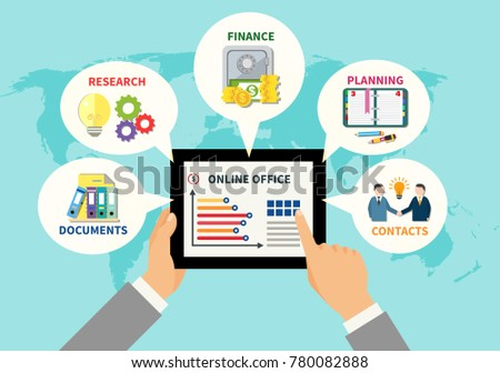 Online Office Design Concept With Tablet In Man Hands And Documents  Contacts Research Planning Icons Around