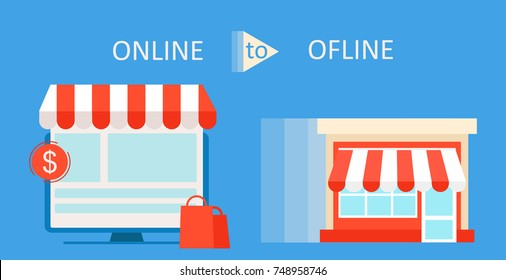 Online To Offline Commerce Definition banner. Shop on site and shop in real life. Involve Seo Users.  flat illustration