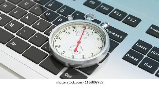 Online order. Stopwatch, timer, on computer, laptop keyboard. 3d illustration