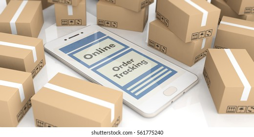 Online order, tracking and delivery concept. Smartphone on moving boxes background. 3d illustration