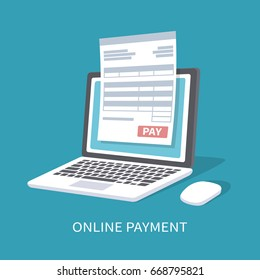 Online payment service. Document form on the laptop screen with a pay button. Isometric illustration