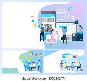 Online payment and transaction security web pages with text sample raster. Smartphone with barcode and shopping , people with globe. Bank institution