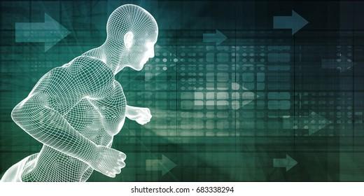 Online Personal Trainer Showing Demonstrating Fitness Exercise 3D Illustration Render