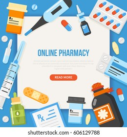Online Pharmacy concept banner with text place. Medical illustration.