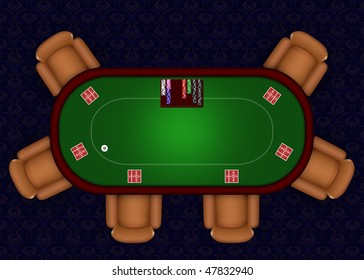 Online Poker table with playing cards and chips