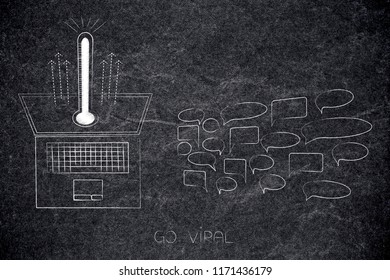 online popularity conceptual illustration: go viral icon with thermometerpopping out of laptop screen next to group of comments