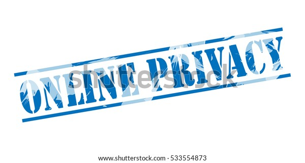 online privacy blue stamp on white background