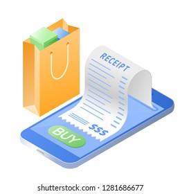 The online purchase bill. Smart phone, paper receipt bill, shopping bag. Flat isometric illustration. The web buying and paying, mobile payment, purchase invoice concept isolated on white background.