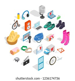 Online purchases icons set. Isometric set of 25 online purchases icons for web isolated on white background