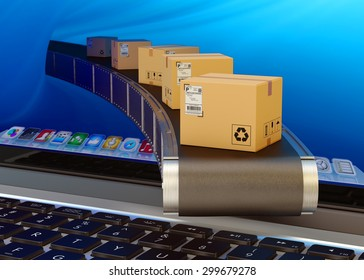 Online purchases and internet shopping concept, packages delivery service, cardboard boxes on conveyor belt from laptop screen