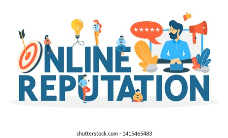 Online reputation management concept. Building relationship with people and improving customer loyalty. Idea of rating and feedback. Flat  illustration