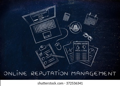 online reputation management: messy desk with laptop and documents with feedback stats