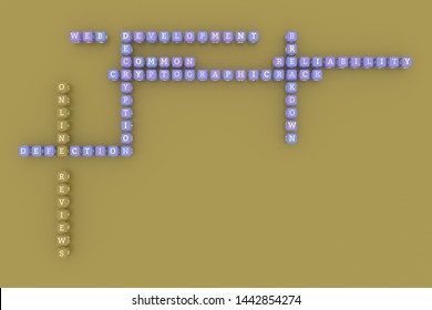Online Reviews, ict keyword crossword. For web page or design, as graphic resource, texture or background. 3D rendering.