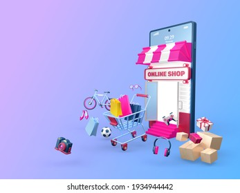 Online shop 3d background, surrounded by products to sell.  3D rendering graphic