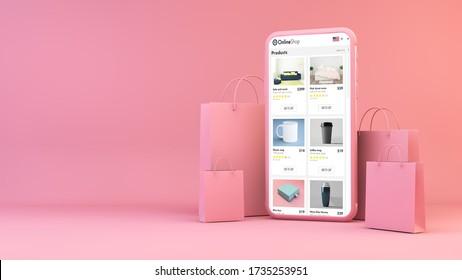 Online-Shop auf Handy mit Einkaufstaschen 3D-Darstellung