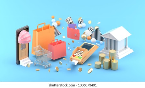 Online shop , Shopping bags, wallet, banks and coins amidst colorful balls on a blue background.-3d rendering.
