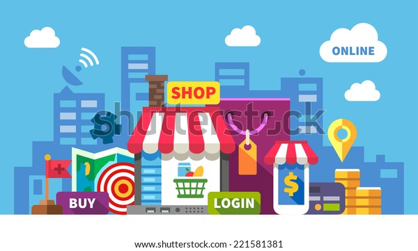 Online shopping. Color flat illustration: online store, shopping, food, clothing, cosmetics, computer, laptop, phone, money, payment card, map