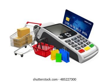 Online Shopping Concept. 3D rendering
