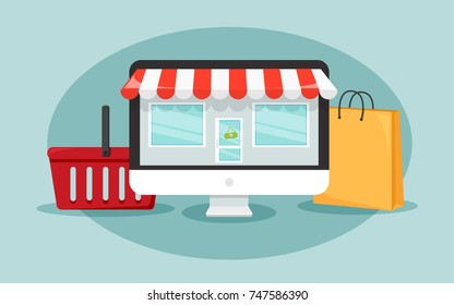 Online shopping concept with the computer which looks like the shop, shopping bag, and basket. illustration