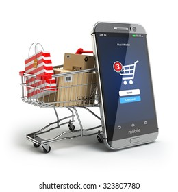 Online shopping concept. Mobile phone or smartphone with cart and boxes and bag. 3d