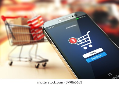 Online shopping concept nackground. Mobile phone or smartphone with cart and boxes and bag. 3d