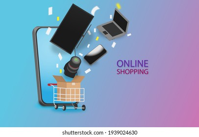 Online shopping concept.TV,laptop,smartphone and camera flying from box that in a cart.Buy technology electrical appliances on social network.Easy,fast and save time.view of copy space advertisement.
