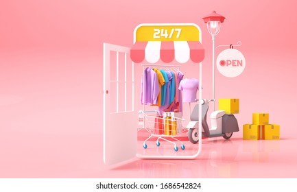 Online shopping and delivery concept. Mobile shop with clothes with shopping cart and parcels box for delivery background. 3D rendering illustration.