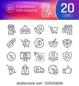 Online shopping and e-commerce line icons set. Suitable for banner, mobile application, website.