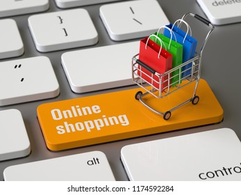 Online shopping key on the keyboard, 3d rendering,conceptual image.