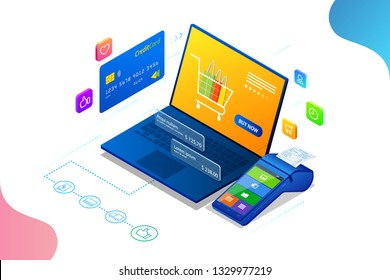 Online shopping, Sale, Consumerism and Online store. Isometric Smart smartphone online shopping template. Mobile marketing and e-commerce.