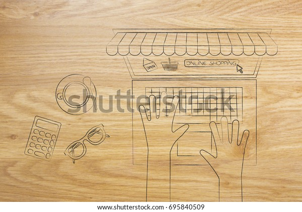 online shopping sales concept: user at his desk from above ordering from his laptop with shop awnings coming out of the screen