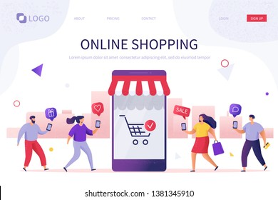 Online shopping website template. Flat style illustration isolated on white background