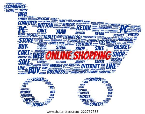 Online Shopping Word Cloud Shape Concept Stock Illustration