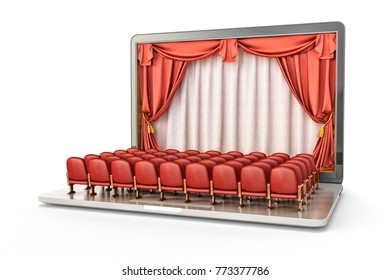 Online show and presentation concept, theater stage interior with red velvet curtains inside laptop's screen and rows of seats on the keyboard, isolated on white, 3d illustration