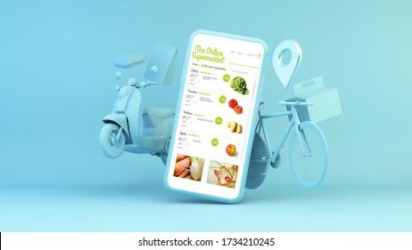 Diseño de entrega en casa de supermercados en línea 3d