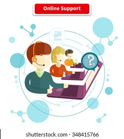 Online support. 24h all the time customer support center via phone mail operator service icons. Support, online chat, online help, online, live chat, live support, customer service. Raster version