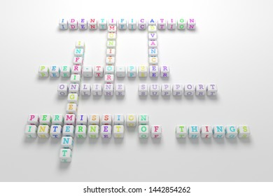 Online Support, ict keyword crossword. For web page or design, as graphic resource, texture or background. 3D rendering.