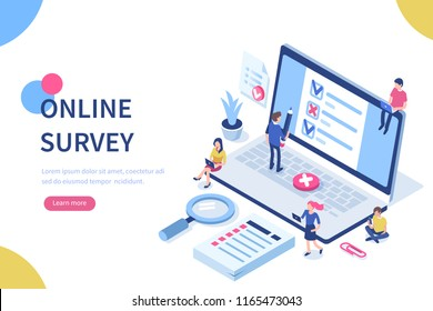 Online survey concept with characters. Can use for web banner, infographics, hero images. Flat isometric illustration isolated on white background.