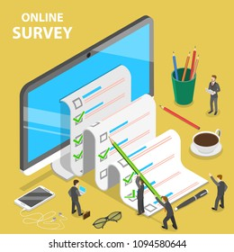 Online survey flat isometric concept. Group of people are filling out a paper survey form that is sticking out of the PC monitor.