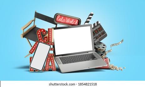 Online theatre cinema had light concept nave lets watch cinema 3d render on blue gradient