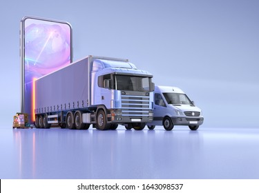 Online tracking service app fast shipping delivery, 3D illustration design concept with delivery truck, cargo van, parcel boxes, mobile smartphone, logistics location map. Logistic network application