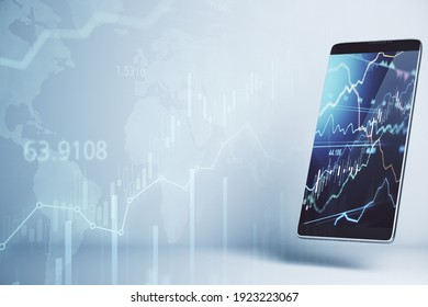 Online trading concept with forex chart on smartphone display and stock market graphs at background. Double exposure. 3D rendering