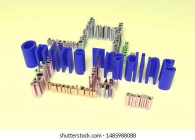 Online Trading, ICT, information technology keyword words cloud. For web page or design, as graphic resource, texture or background. 3D rendering.