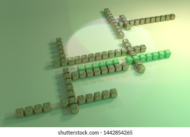 Online Trading, ict keyword crossword. For web page or design, as graphic resource, texture or background. 3D rendering.