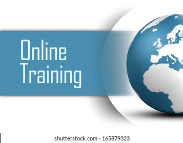 Online Training concept with globe on white background